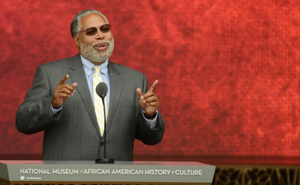 Lonnie G. Bunch III speaks during the 2016 dedication of the National Museum of African History and Culture in Washington, D.C. Bunch, the museum's founding director, will be taking over as secretary of the Smithsonian Institution in mid-June.