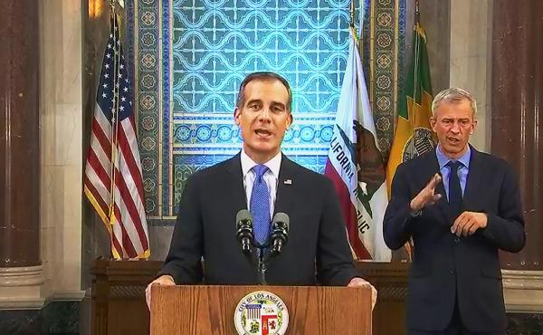 Los Angeles Mayor Eric Garcetti, pictured giving his annual State of the City speech in  April, announced on Wednesday that he is authorizing the Department of Water and Power to shut off service at properties hosting large parties, which are forbidden un