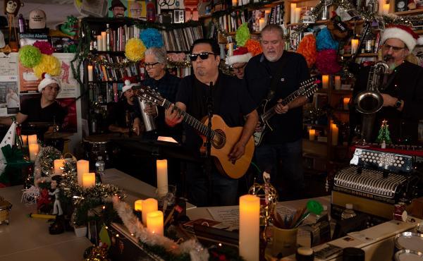 Los Lobos perform during a Tiny Desk concert, on Dec. 13, 2019. (Catie Dull/NPR)