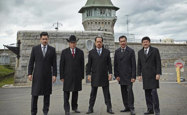 Members of Los Tigres Del Norte outside of Folsom Prison, the subject of an upcoming album and documentary.