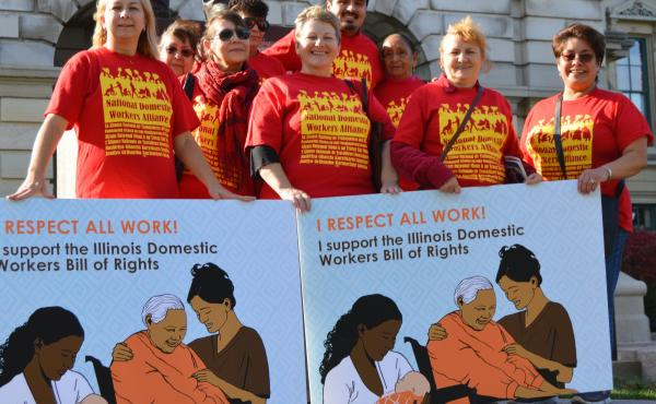 Isabel Escobar (far right) was among a group of Arise Chicago members — Latina and Polish home cleaners, nannies and home care workers — advocating for the Illinois Domestic Workers Bill of Rights during an October 2015 trip to the state capital in Sp