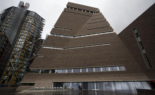 "An exterior view of the new addition to the Tate Modern gallery in London in 2016. A handful of apartment owners are suing the museum, arguing it has created a state of ""near constant surveillance"" since opening a 10th floor terrace."