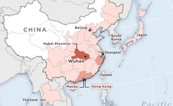 Map showing cases of Wuhan coronavirus detected so far