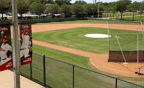 A view of the spring training home of the Philadelphia Phillies on May 20, 2020 in Clearwater, Fla. The Phillies closed the complex after several players tested positive for COVID-19.