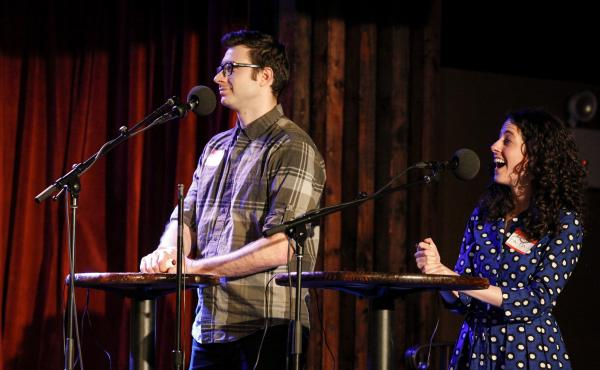 Contestants Lance Merlo and Faith Karga appear on Ask Me Another at the Bell House in Brooklyn, New York.