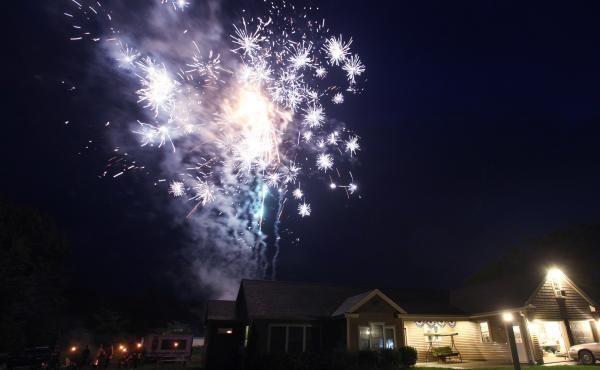 Fireworks companies in Maine are struggling after many displays have been cancelled. A 2012 display in Scarborough, Maine is shown here.