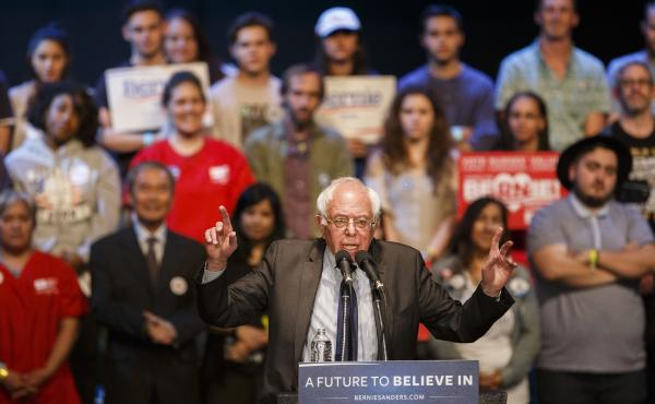 Sen. Bernie Sanders, an independent from Vermont, speaks during a campaign event in Los Angeles, Calif., on March 23.