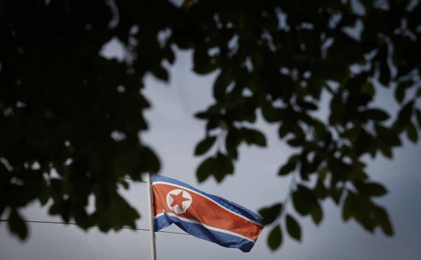 North Korea's flag flutters inside the country's embassy in Kuala Lumpur, Malaysia, on Wednesday.