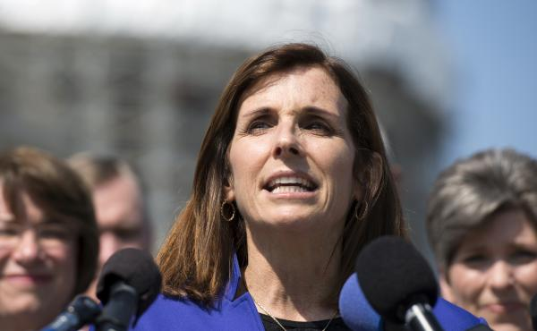 """Rep. Martha McSally speaks last year on Capitol Hill. An Arizona man was arrested last week for threatening the congresswoman, saying among other things, that he """"can't wait"""" to pull the trigger on her."""