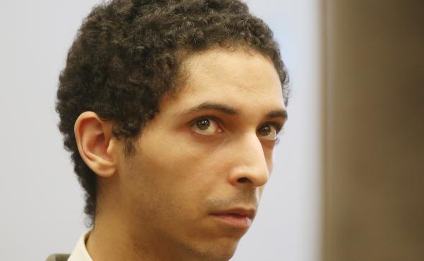 "Tyler Barriss at a preliminary hearing in May 2018 for the ""swatting"" death of Andrew Finch in late December of 2017."