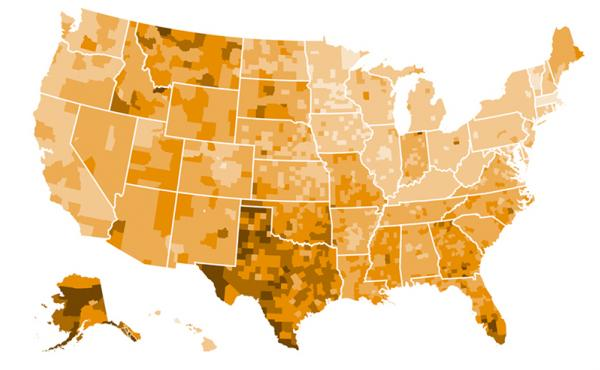 This map represents the share of people under 65 without insurance in 2015.