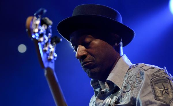 Bassist and composer Marcus Miller, performing during a tribute to Miles Davis on July 13, 2011 in Montreux, France.
