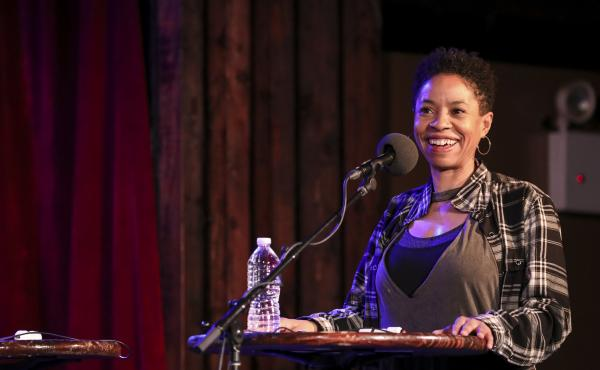 Marina Franklin plays a game on Ask Me Another at the Bell House in Brooklyn, New York.
