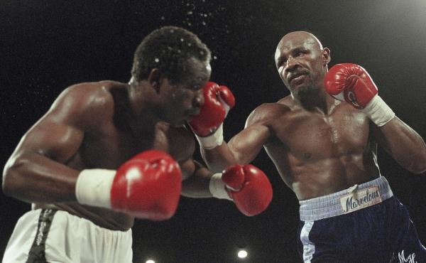 "Hagler, right, versus John ""The Beast"" Mugabe on March 10, 1986. Hagler won the fight with an 11th round knockout."