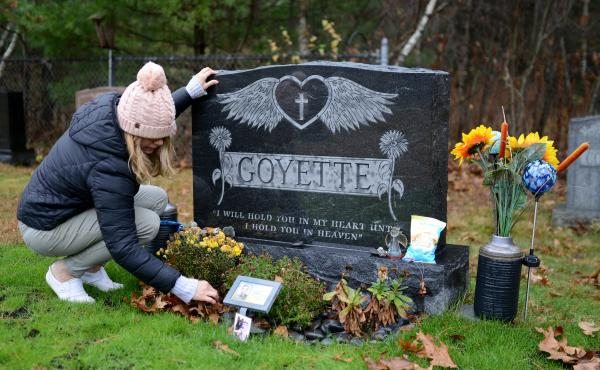 Shannon Goyette visits her son Jacob's grave in Shirley, Mass. The 16-year-old died by suicide last year.