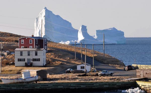An iceberg looms large off the coast of Newfoundland on Sunday.