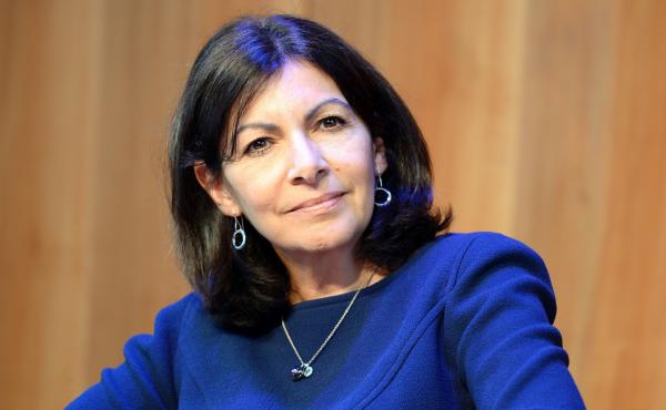 Paris Mayor Anne Hidalgo attends a news conference in Paris on Monday.