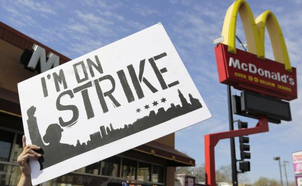 McDonald's workers and supporters rally in Chicago in 2015 in what organizers at the time called the biggest-ever mobilization of U.S. workers.