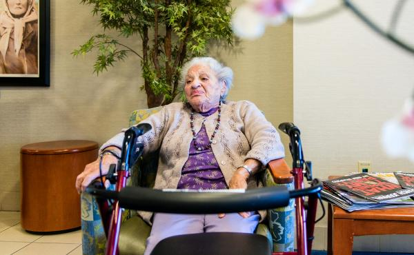 Josephine Rudolph, 99, says she couldn't afford to live at the Joyce Eisenberg Keefer Medical Center Skilled Nursing Facility in Reseda, Calif., without Medi-Cal assistance.