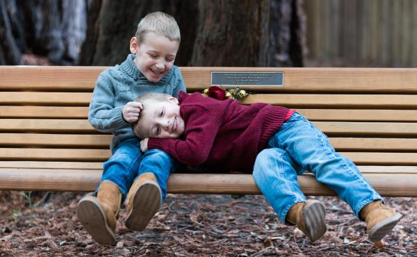 Seven-year-old Carson Miller (left), and his brother, 5-year-old Chase Miller (right), both have a degenerative brain disease called MEPAN syndrome. There are only 13 people in the world who have it.