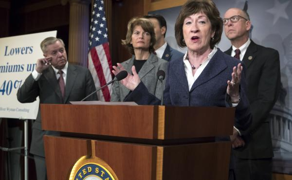 Sen. Susan Collins, R-Maine (center), is joined on Wednesday by Sen. Lindsey Graham (from left), R-S.C., Sen. Lisa Murkowski, R-Alaska, and Rep. Greg Walden, R-Ore. Collins was pushing for provisions in the budget bill aimed at lowering premiums for peopl