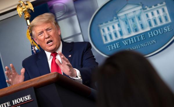 President Trump speaks during the daily briefing Friday on the novel coronavirus.