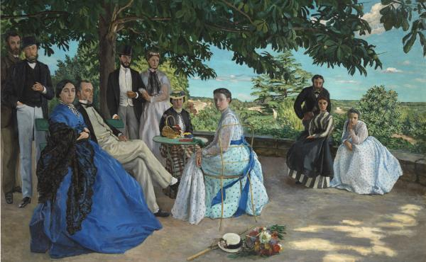 Frédéric Bazille's The Family Gathering has none of the quick, airy brushstrokes his future impressionist peers would discover; but the sunshine is there, as are the bright colors.