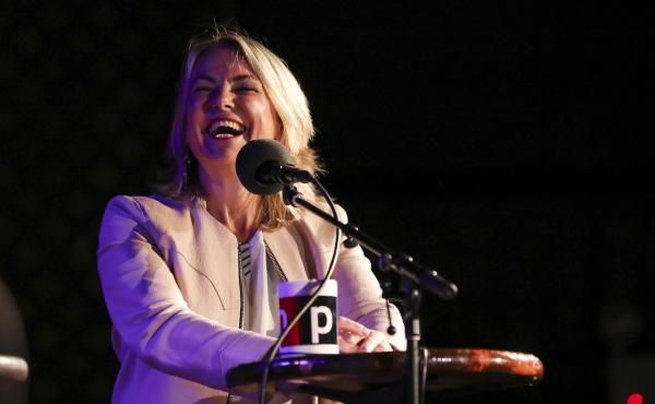 Esther Perel appears on Ask Me Another at the Bell House in Brooklyn, New York
