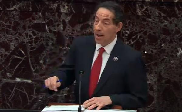 Lead House impeachment manager Jamie Raskin, D-Md., speaks on the first day of former President Donald Trump's second impeachment trial at the U.S. Capitol on Tuesday.