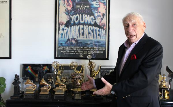 Mel Brooks' office is lined with awards — he's in the elite EGOT club, having won Emmy, Grammy, Oscar and Tony awards.