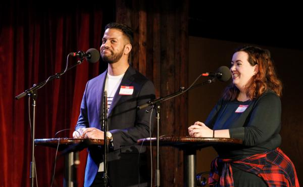 Contestants Cesar Martinez and Rebekah Shoemake play a game on Ask Me Another at the Bell House in Brooklyn, New York.