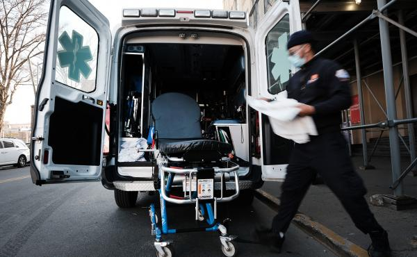 New York City has started the Behavioral Health Emergency Assistance Response Division, or B-HEARD, to provide more targeted care for those struggling with mental health issues. Here in March, an EMT worker cleans a gurney after transporting a suspected C