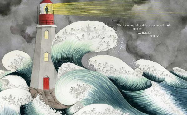An excerpt of Sophie Blackall's Caldecott-winning Hello Lighthouse.