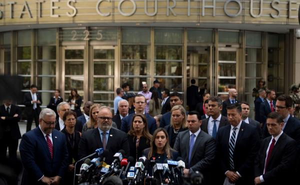"Joaquin Guzmán, also known as ""El Chapo,"" was sentenced Wednesday to a life term in prison plus 30 years. After the sentencing in a Brooklyn courthouse, U.S. attorneys and other officials greeted the media, including Ariana Fajardo Orshan, U.S. attorney"