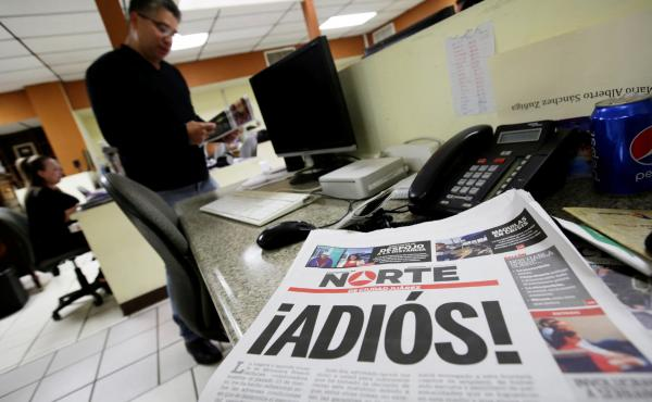 The newspaper Norte announced its closure in bold letters, with a front-page letter from its owner explaining that the violence against journalists in Juarez and elsewhere in Mexico made the paper's continued existence untenable.