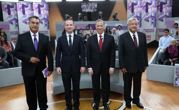 "In this photo released by the National Electoral Institute (INE), presidential candidates ( from left) independent Jaime Rodriguez, known as ""El Bronco,"" Ricardo Anaya of the Forward for Mexico Coalition, Jose Antonio Meade, of the Institutional Revolutio"