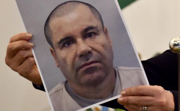 """Mexican drug kingpin Joaquin """"El Chapo"""" Guzmán, seen here in a photo held by Mexico's attorney general, Arely Gomez, last July, has been recaptured, Mexico's president says."""