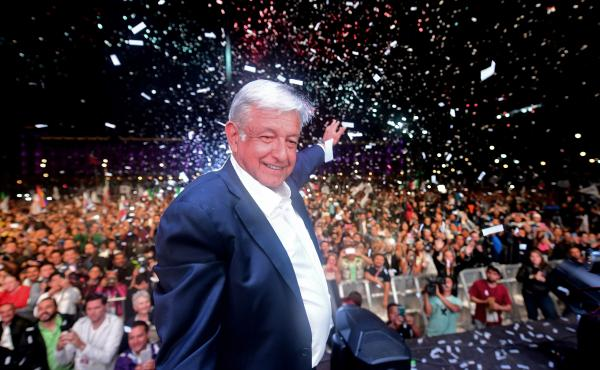 Andrés Manuel López Obrador won Mexico's presidential election and celebrated Sunday night with his supporters in Mexico City's Zócalo Square.