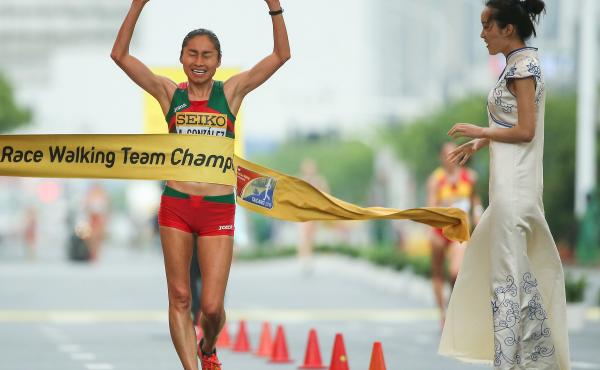 María Guadalupe González, seen here winning the Women's 20 km race at the IAAF World Race Walking Team Championships last May, has been banned from the sport for four years.