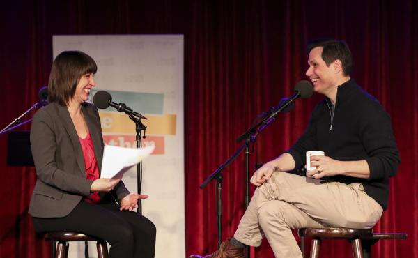 Ophira Eisenberg talks with comedian Michael Ian Black on Ask Me Another at the Bell House in Brooklyn, New York.