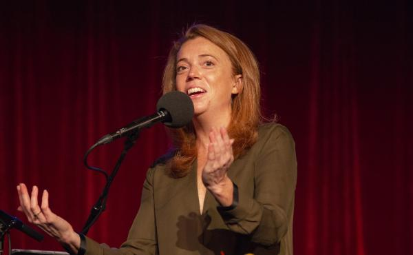 Michelle Wolf appears on Ask Me Another at the Bell House in Brooklyn, New York.