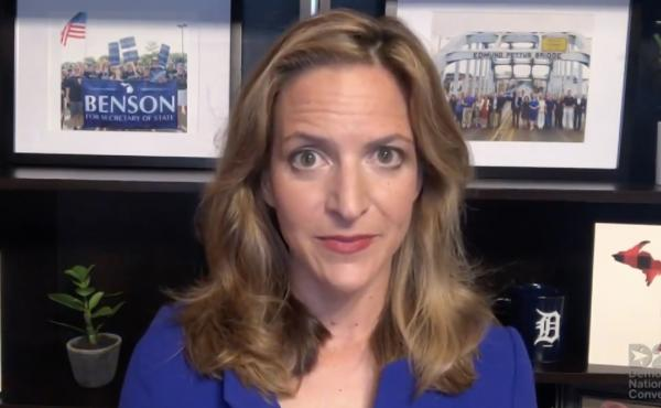 Michigan Secretary of State Jocelyn Benson addresses the virtual Democratic National Convention on August 20. The convention, which was once expected to draw 50,000 people to Milwaukee, Wisconsin, is now taking place virtually due to the coronavirus pande