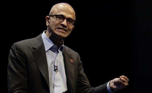 Microsoft CEO Satya Nadella speaks at the Future Decoded conference in London on Nov. 10. The company hopes to create new social tools to increase productivity in and out of the workplace.