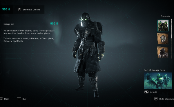 One of the suits of armor available in Assassin's Creed: Valhalla — if you're willing to pay real money.