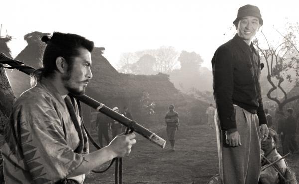 Movie star Toshiro Mifune and director Akira Kuroswa on the set of Seven Samurai.