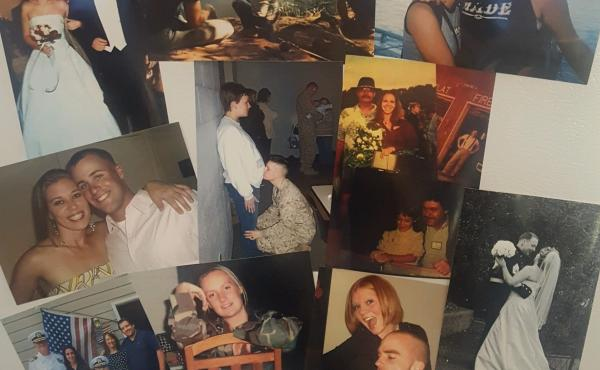 During American Widow Project retreats, the widows create a makeshift family scrapbook with photos of their families.