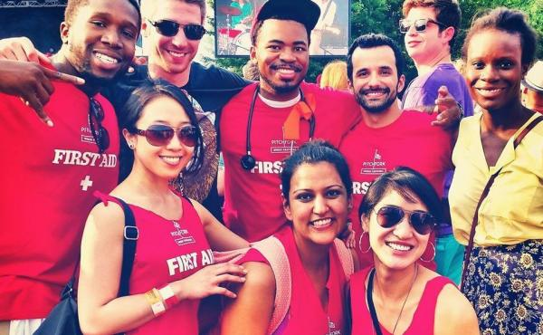 Medical residents including Dr. Amy Ho (bottom right) helped with first aid at the Pitchfork Music Festival in Chicago.