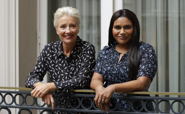 "Mindy Kaling, right, wrote the lead role in Late Night with Emma Thompson in mind. They filmed the movie in a ""white heat of passion"" in 25 days, Thompson says. They are pictured above in London in May 2019."