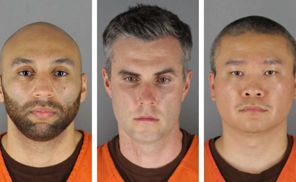 Former Minneapolis Police officers, from left, J. Alexander Kueng, Thomas Lane and Tou Thao. Their trial on charges related to the killing of George Floyd has been delayed until March 2022.