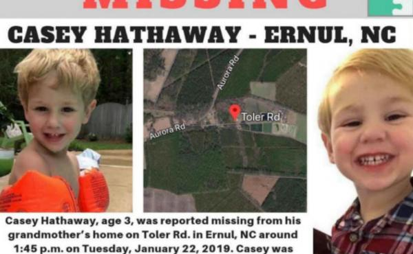 Fliers were posted during the hunt for Casey Hathaway, the North Carolina toddler who had gone missing Tuesday.